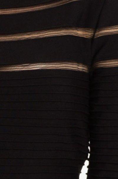 画像2: 【プリティ・リトル・ライヤーズ使用】Tadashi Shoji    Mesh Stripe Fit & Flare Dress ブラック