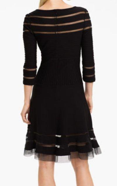 画像1: 【プリティ・リトル・ライヤーズ使用】Tadashi Shoji    Mesh Stripe Fit & Flare Dress ブラック