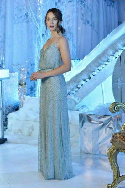 画像1: ドラマ【プリティリトルライヤーズ使用】Adrianna Papell   Beaded Blouson Dress mist (1)