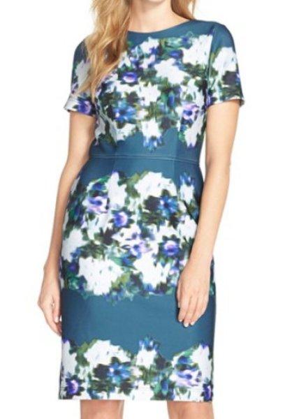 画像1: ドラマ【BONES】使用!Adrianna Papell   Print Scuba Sheath Dress (1)