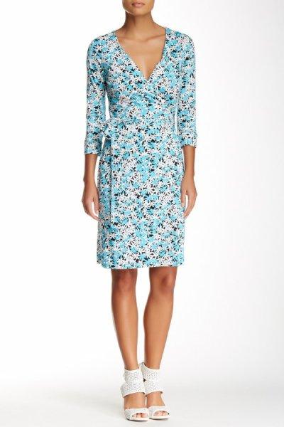 画像1: ドラマ【ギルモアガールズ使用】Diane von Furstenberg ダイアンフォンファステンバーグ New Julian Two wrap  dress  Garden Daisy ブルー (1)
