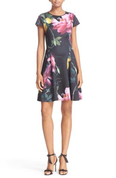 画像1: 【ドラマ使用】Ted Baker テッドベイカー  Allisia Print Skater Dress (1)