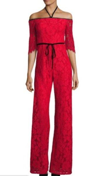 画像1: 【ドラマ使用】Alexis アレクシス oaquin Off-the-Shoulder Lace Jumpsuit (1)