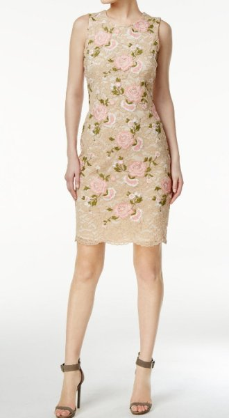 画像1: 【Robin Roberts着用】Calvin Klein カルバンクライン  Embroidered Lace Sheath Dress (1)