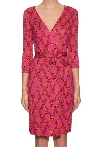 画像1: Diane von Furstenberg ダイアンフォンファステンバーグ New Julian Two wrap dress Shalamar Trellis Pink  (1)