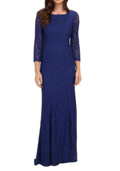 画像1: Adrianna Papell アドリアナパペル lace mermaid gown ブルー系 (1)