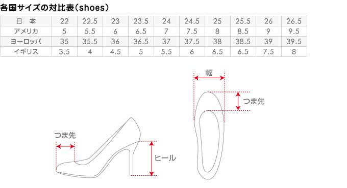靴の各国サイズの対比表と採寸図
