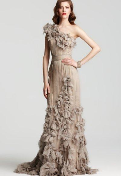 画像1: 連休中プライスダウン!再販売!【Julie Bowen愛用】Tadashi Shoji     One Shoulder Rosette Cascading dress  アンティーク