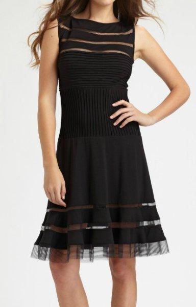 画像1: セール!【AKOさんご着用】Tadashi Shoji  タダシショージ  Flounce Skirt Dress ブラック (1)