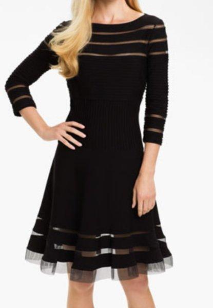 画像1: 【プリティ・リトル・ライヤーズ使用】Tadashi Shoji    Mesh Stripe Fit & Flare Dress ブラック (1)