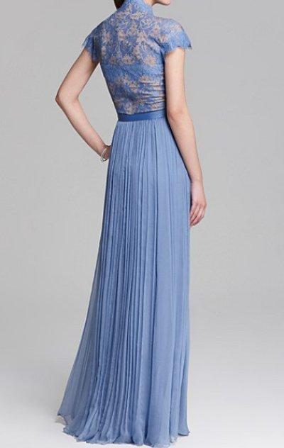 画像1: 再販売【マデレーン王女ご愛用】Tadashi Shoji      Cap Sleeve Belted Lace Gown ブルー系