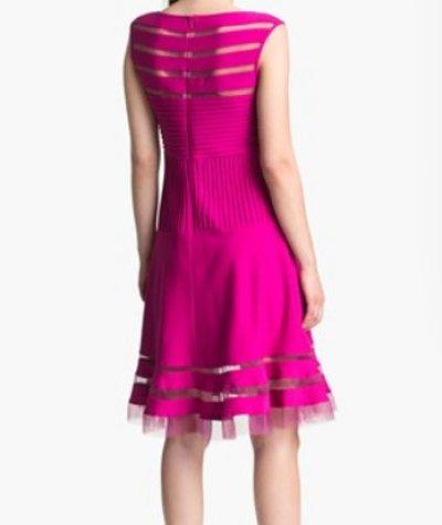 画像1: 【バチェラー・ジャパンに衣装提供】Tadashi Shoji Flounce Skirt Dress LOTUS PINK ピンク系