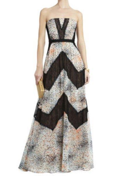画像1: 【AneCan掲載】BCBGMAXAZRIA  Elle Print and Lace Blocked Halter Dress (1)