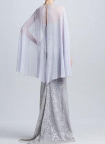 画像1: Badgley Mischka  Lace Cape Gown