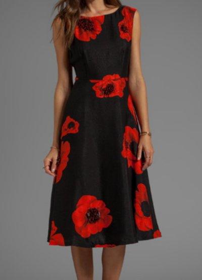 画像1: 【ミシェル・オバマ大統領夫人ご愛用】Tracy Reese   Scarlet Floral Embellished Flared Frock