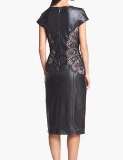 画像2: 再販売!【映画「去年の冬、きみと別れ」に衣装提供】Tadashi Shoji Lace Detail Leather Sheath Dress ブラック