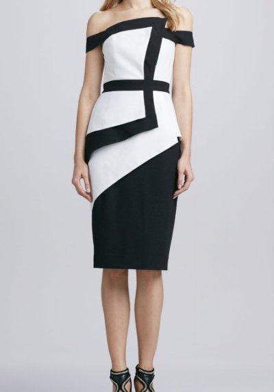 画像1: 【Maria Bello愛用】Black Halo    La Reina Colorblock Offtheshoulder Dress