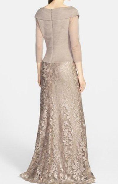 画像1: 【杉本彩さん着用】Tadashi Shoji  タダシショージ  Sequin Lace Gown SAND ベージュ系