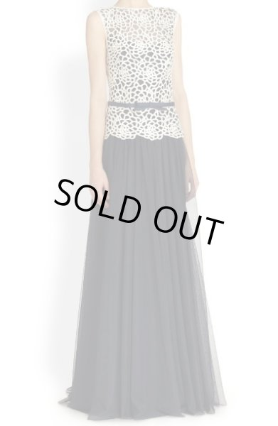 画像1: 再販売 1点のみ即発!【大林素子さんに衣装協力】Tadashi Shoji Lace & Mesh Dress  アイボリー・ネイビー (1)