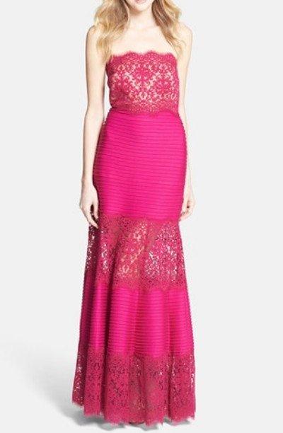 画像1: 【Alicia Quarles愛用】Tadashi Shoji   Pintuck Jersey and Lace Strapless Gown ピンク系