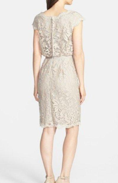 画像1: Tadashi Shoji      Lace Blouson Dress ベージュ系