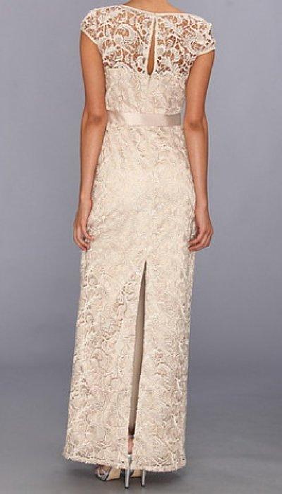 画像1: Adrianna Papell  アドリアナパペル  Cap Sleeve Lace Gown パープル系