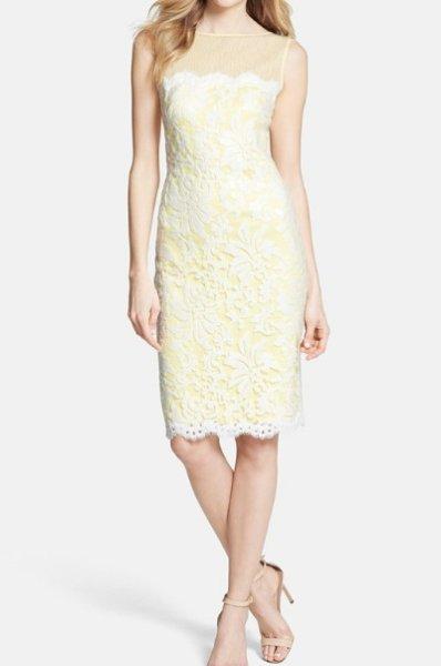 画像1: 【八木早希さん、アカデミー賞ご着用】Tadashi Shoji      Illusion Yoke Embroidered Lace Sheath Dress (1)