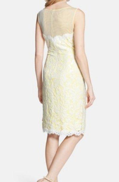 画像1: 【八木早希さん、アカデミー賞ご着用】Tadashi Shoji      Illusion Yoke Embroidered Lace Sheath Dress