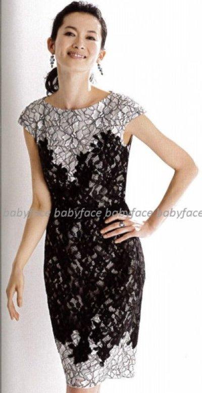 画像3: 再販売【篠原涼子さん、前田ゆかさんご着用、家庭画報掲載】Tadashi Shoji     Contrast-Lace Cocktail Dress ブラック
