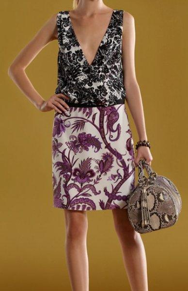 画像1: Gucci ミックスフローラルプリントVネックドレス (1)
