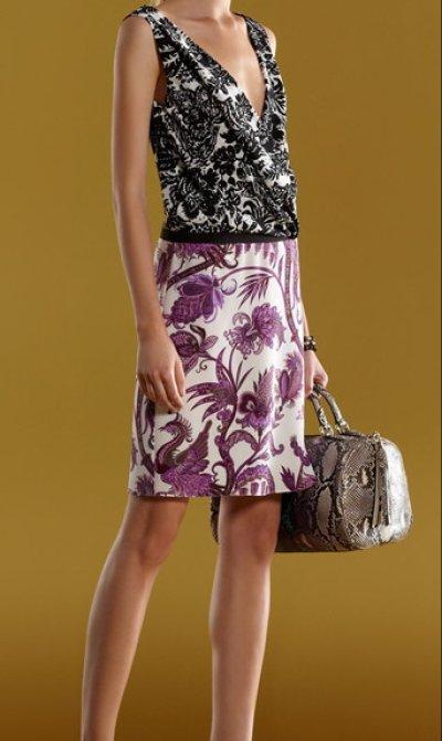 画像1: Gucci ミックスフローラルプリントVネックドレス