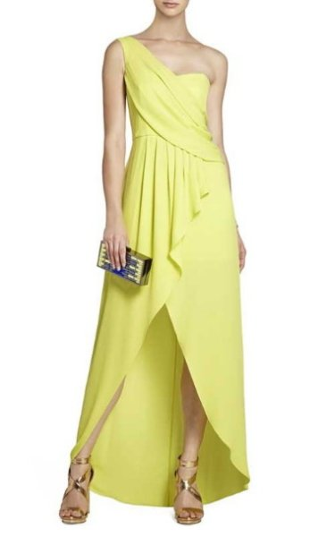 画像1: ドラマ【ロイヤルペインズ使用】BCBGMAXAZRIA  Kail Draped One Shoulder Gown レモングラス (1)