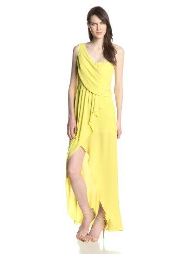 画像1: ドラマ【ロイヤルペインズ使用】BCBGMAXAZRIA  Kail Draped One Shoulder Gown レモングラス