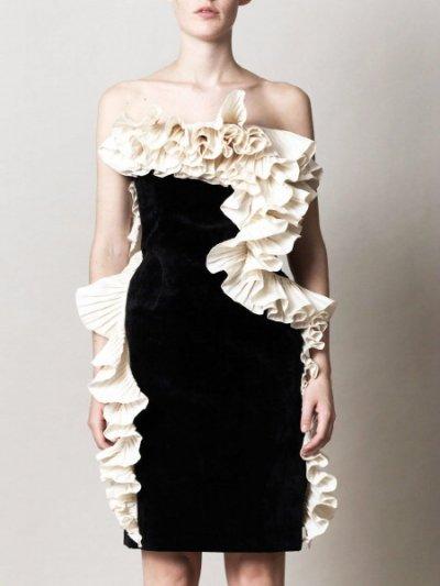 画像1: 再販売!【上戸彩さん、ベッキーさんご着用】Lanvinランバン  ラッフルベルベットドレス