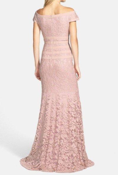 画像1: Tadashi Shoji Textured Lace Mermaid Gown  アンティークピンク