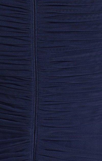 画像2: 【Megan Mullally愛用】Tadashi Shoji  アシンメトリックギャザーロングドレス インディゴ