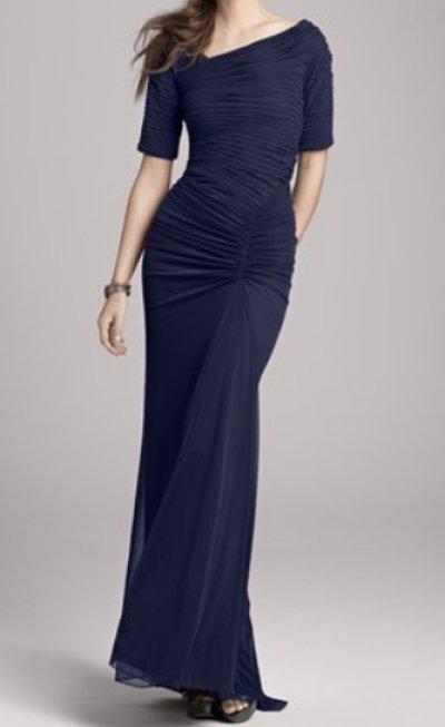 画像3: 【Megan Mullally愛用】Tadashi Shoji  アシンメトリックギャザーロングドレス インディゴ