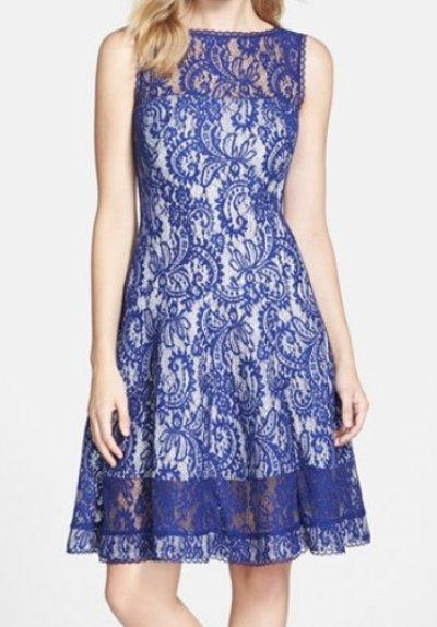 画像1: 【上戸彩さん着用、Lilla Crawford 愛用】Tadashi Shoji     Bonded Lace Fit & Flare Dressブルー系