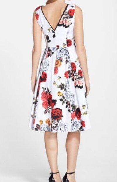 画像1: Adrianna Papell 花柄ジャガードフィット&フレアドレス