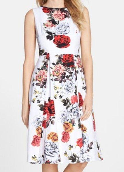 画像1: Adrianna Papell 花柄ジャガードフィット&フレアドレス (1)