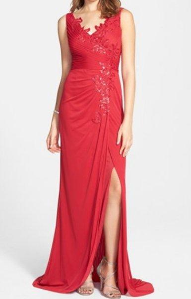 画像1: Adrianna Papell   Sequin Tulle Faux Wrap Gown (1)