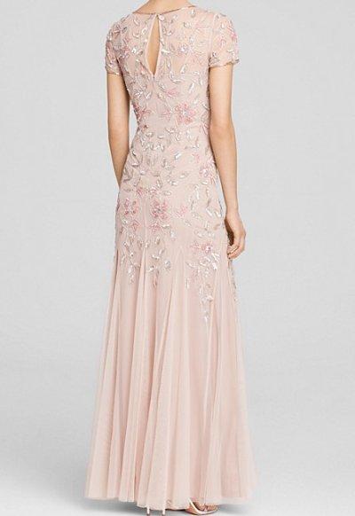 画像1: Adrianna Papell   Illusion Neck Floral Beaded Godet Gown