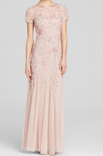 画像1: Adrianna Papell   Illusion Neck Floral Beaded Godet Gown (1)