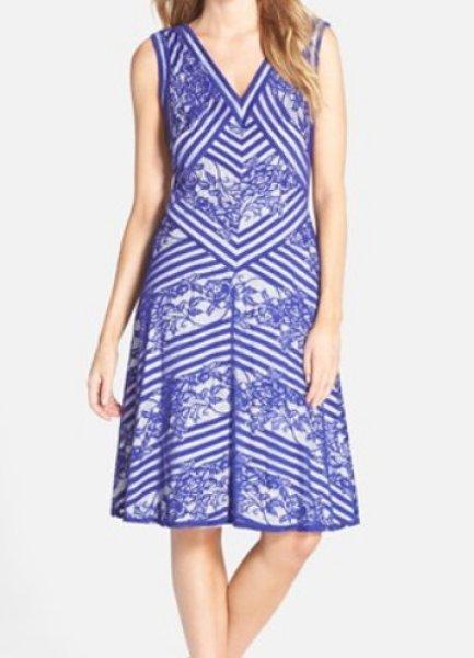 画像1: 【木南晴夏さんご着用】Tadashi Shoji    Stripe & Lace A-Line Dress ブルー系 (1)