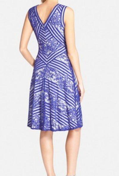画像1: 【木南晴夏さんご着用】Tadashi Shoji    Stripe & Lace A-Line Dress ブルー系