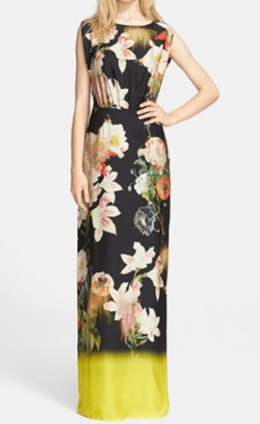 画像1: 【ドラマ使用】Ted Baker    Jasmyne Opulent Bloom Print Evening Gown  (1)