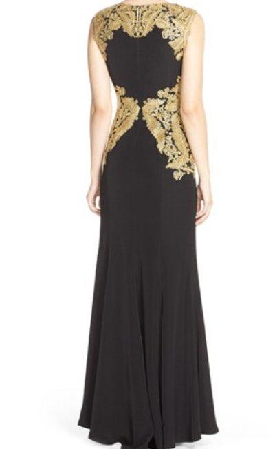 画像1: 【川井郁子さんご着用】Tadashi Shoji      Sleeveless Lace-Embellished Gown ゴールド ブラック