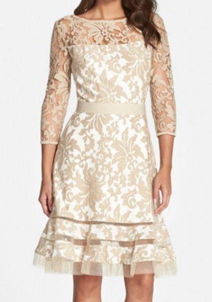 画像1: Tadashi Shoji       Lace Overlay Dress ベージュ系 (1)