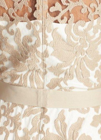 画像2: Tadashi Shoji       Lace Overlay Dress ベージュ系