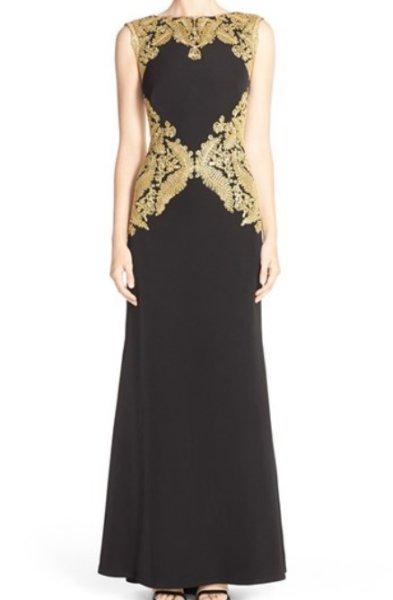 画像1: 【川井郁子さんご着用】Tadashi Shoji      Sleeveless Lace-Embellished Gown ゴールド ブラック (1)